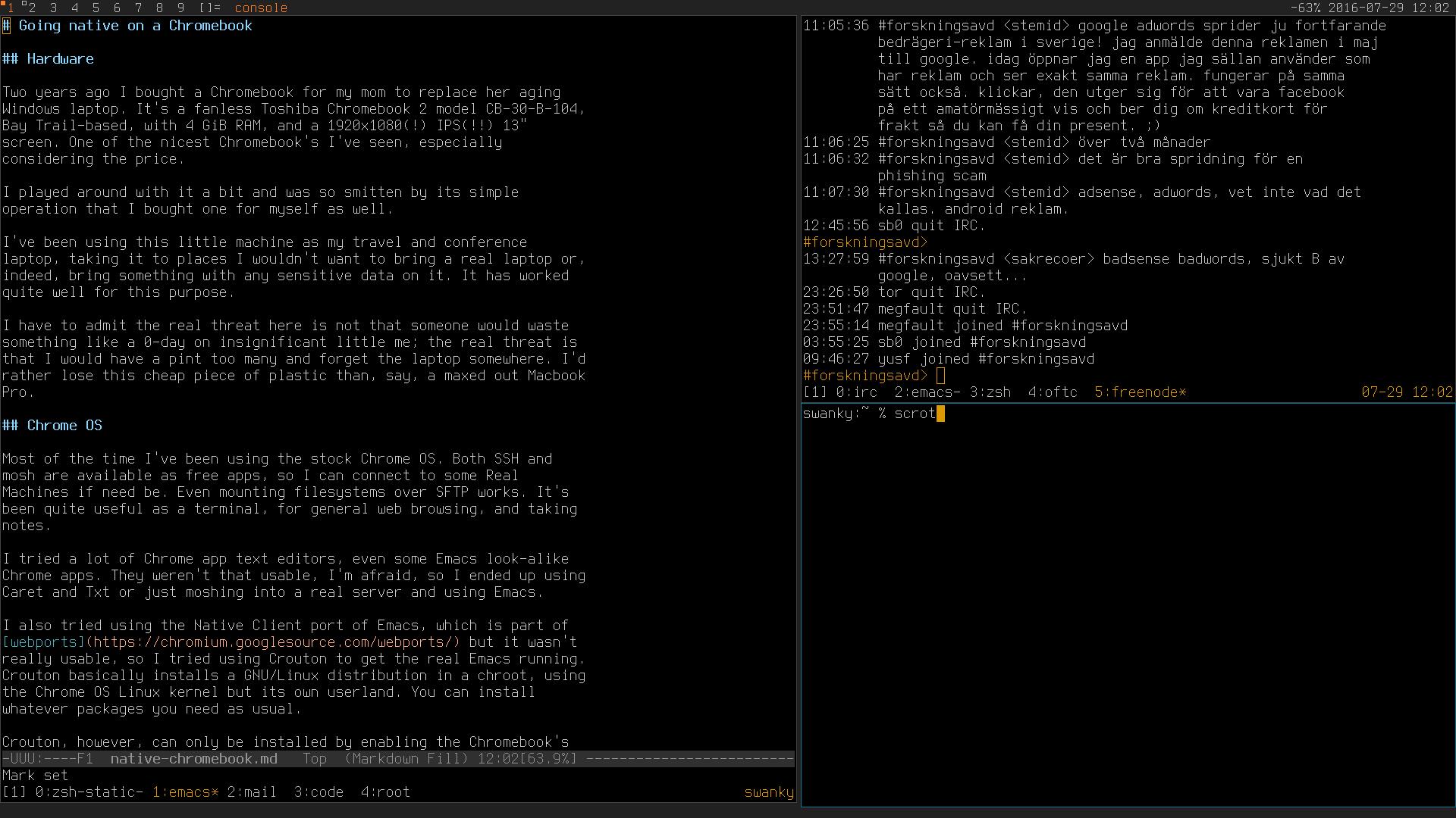 Native GNU/Linux on a Toshiba Chromebook 2